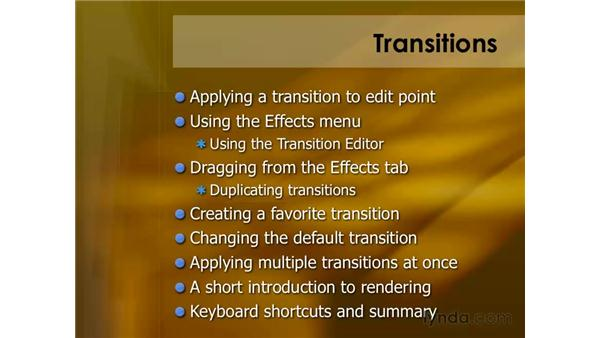 Keyboard shortcuts for transitions: Final Cut Pro 6 Essential Editing