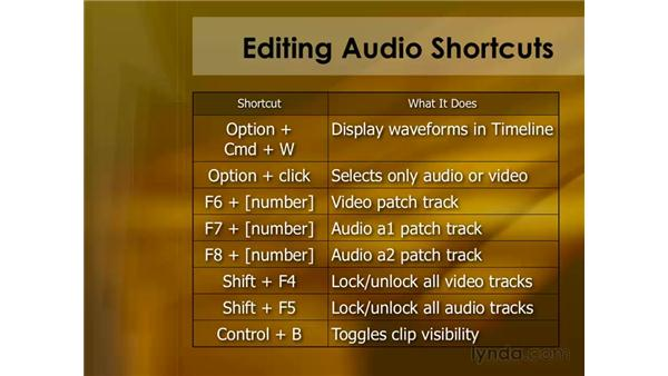 Keyboard shortcuts for editing audio: Final Cut Pro 6 Essential Editing