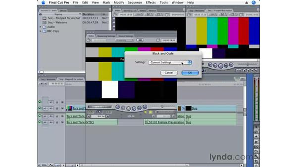 Striping a tape: Final Cut Pro 6 Essential Editing