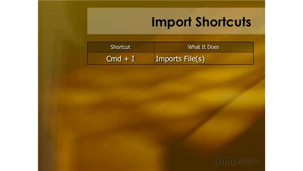 Keyboard shortcuts for importing: Final Cut Pro 6 Essential Editing