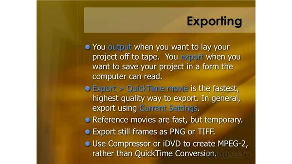 Exporting Summary: Final Cut Pro 6 Essential Editing