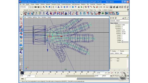 Creating a skeleton pt. 4: Hands: Maya 8.5 Character Rigging