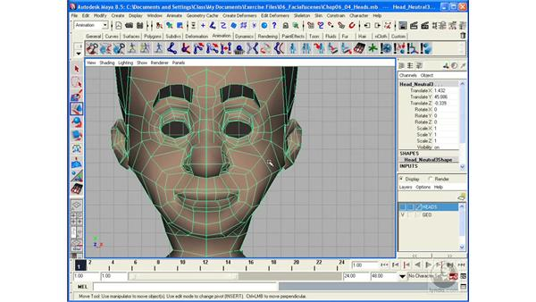 Creating Blend Shapes for facial animation: Maya 8.5 Character Rigging