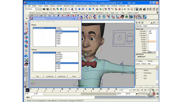 Rigging the head pt. 2: Creating a jaw control: Maya 8.5 Character Rigging