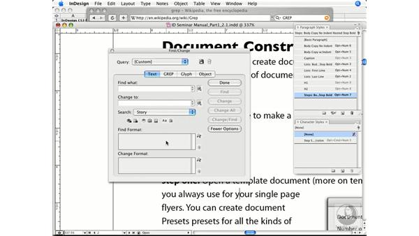 Using the Find and Replace function: InDesign CS3 Prepress Essentials
