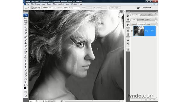 Single-channel grayscale: Photoshop CS3 Channels and Masks: The Essentials