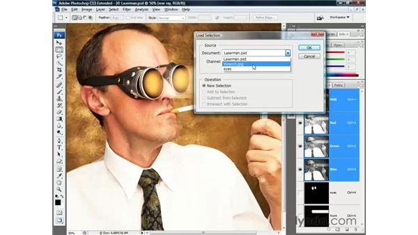 Loading a mask from one image into another: Photoshop CS3 Channels and Masks: The Essentials