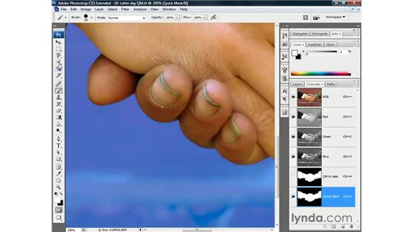 Hand-painting refinements: Photoshop CS3 Channels and Masks: The Essentials