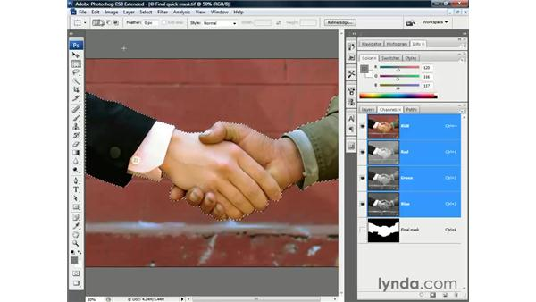 Pasting an image in back of a selection: Photoshop CS3 Channels and Masks: The Essentials