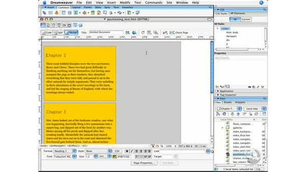Using absolute and relative positioning: Dreamweaver CS3 Beyond the Basics