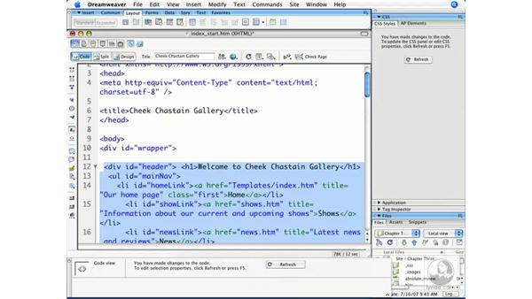 Building structure and assigning IDs: Dreamweaver CS3 Beyond the Basics