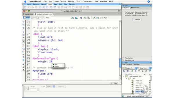 Creating vertical columns for form elements: Dreamweaver CS3 Beyond the Basics