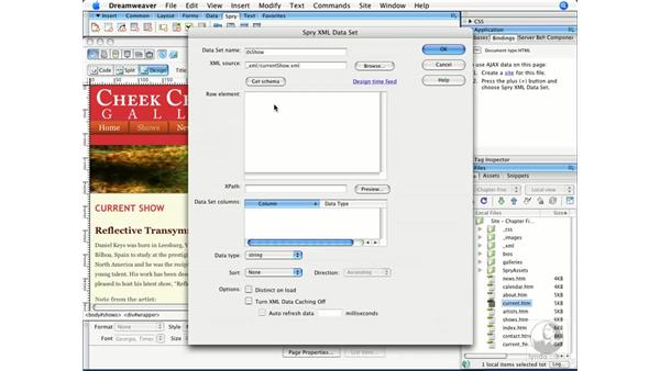 Defining a data source for use in Spry: Dreamweaver CS3 Beyond the Basics