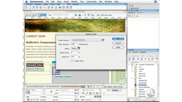 Creating effects with Spry behaviors: Dreamweaver CS3 Beyond the Basics