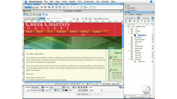 Creating a new page from a template: Dreamweaver CS3 Beyond the Basics