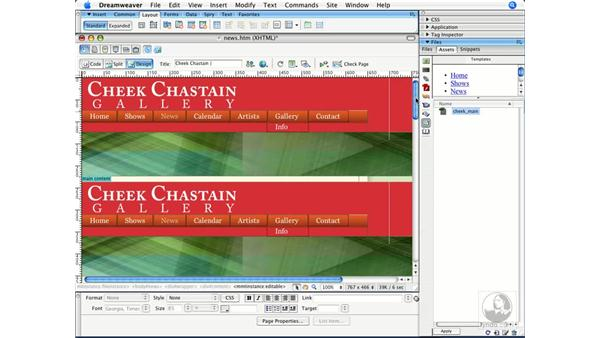 Applying a template to an existing page: Dreamweaver CS3 Beyond the Basics