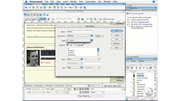 Creating a database recordset: Dreamweaver CS3 Beyond the Basics