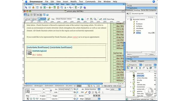 Adding dynamic content to the page: Dreamweaver CS3 Beyond the Basics