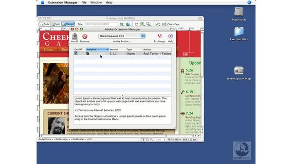 Installing additional behaviors: Dreamweaver CS3 Beyond the Basics
