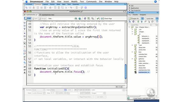 Initializing the user interface for a behavior: Dreamweaver CS3 Beyond the Basics