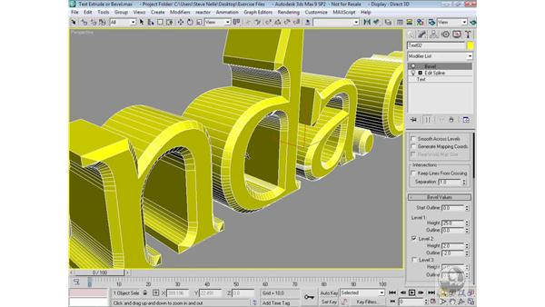 Extruding vs. beveling text: 3ds Max 9 Modeling