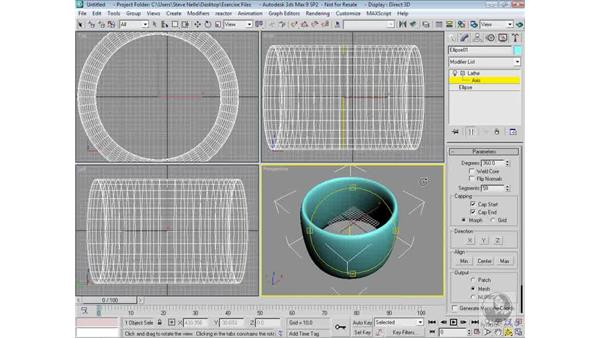 Changing the lathe axis: 3ds Max 9 Modeling