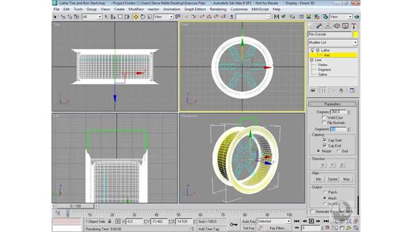 Lathing the shapes and adjusting the lathe axis: 3ds Max 9 Modeling