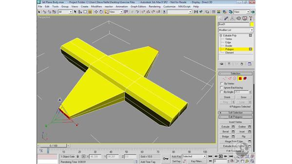 Modeling the front and back wings: 3ds Max 9 Modeling