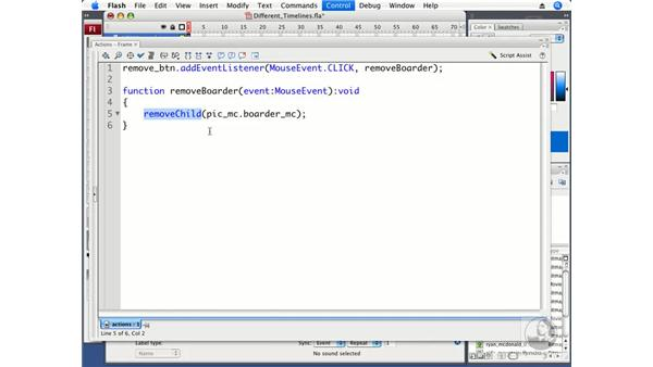 Controlling Display Objects in different timelines: ActionScript 3.0 in Flash CS3 Professional Beyond the Basics