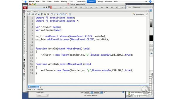Using different easing methods: ActionScript 3.0 in Flash CS3 Professional Beyond the Basics