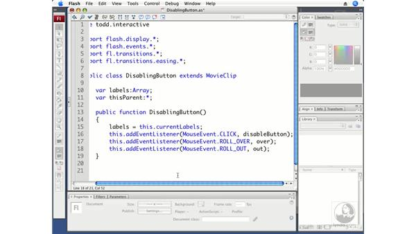 Creating a DisablingButton class from a template: ActionScript 3.0 in Flash CS3 Professional Beyond the Basics