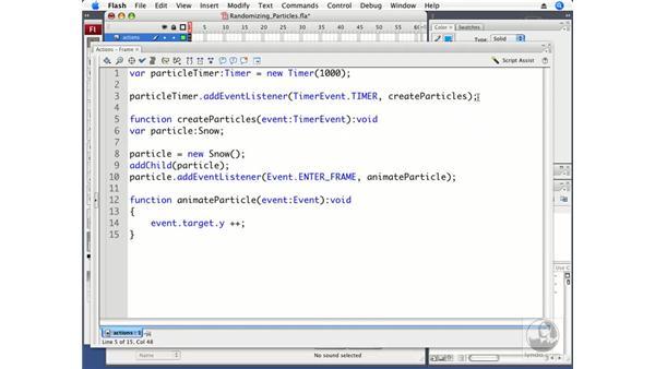 Randomizing particles: ActionScript 3.0 in Flash CS3 Professional Beyond the Basics