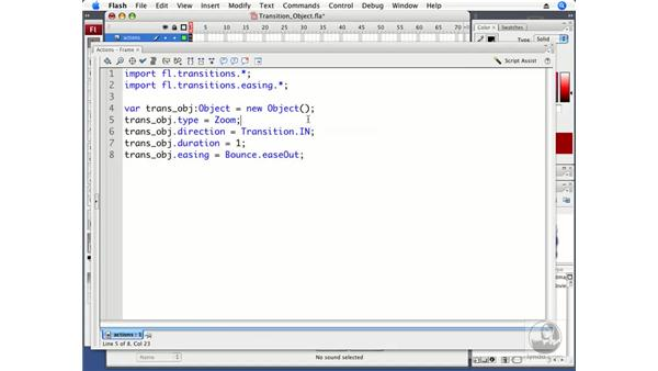 Placing transition information in an object: ActionScript 3.0 in Flash CS3 Professional Beyond the Basics