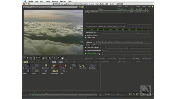 Playing audio with footage: Shake 4.1 Essential Training