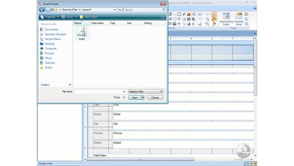 Modifying a form's design: Access 2007 Essential Training