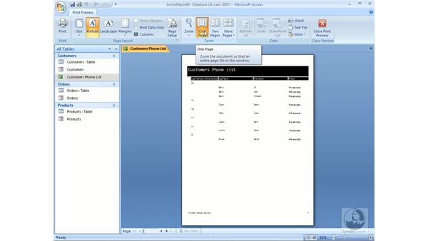 Modifying reports in Design view: Access 2007 Essential Training