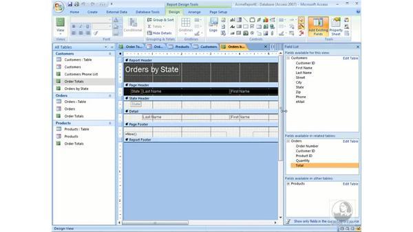 Summarizing report information: Access 2007 Essential Training