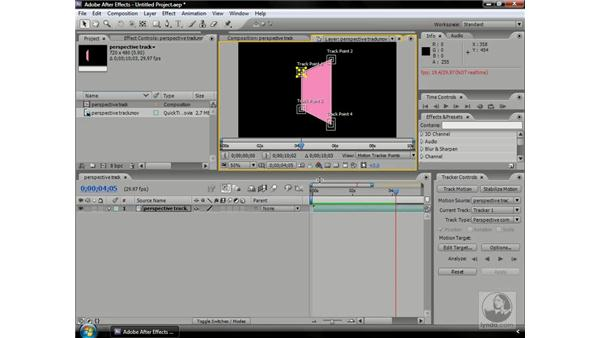 Tracking an object in perspective: After Effects CS3 Professional Beyond the Basics