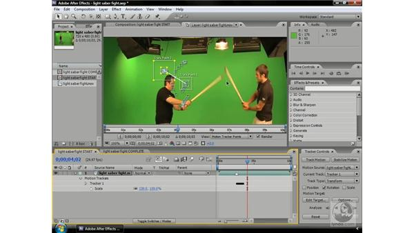 Creating a lightsaber fight with tracking: After Effects CS3 Professional Beyond the Basics