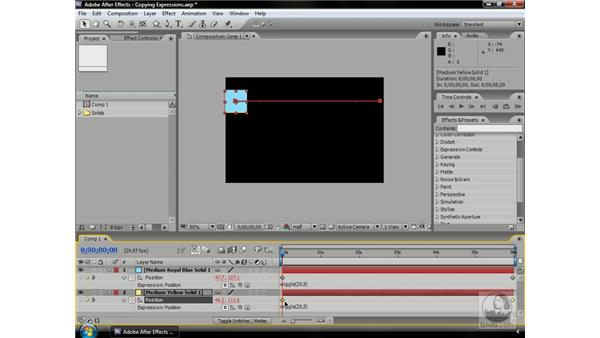 Copying pasting and saving expressions: After Effects CS3 Professional Beyond the Basics