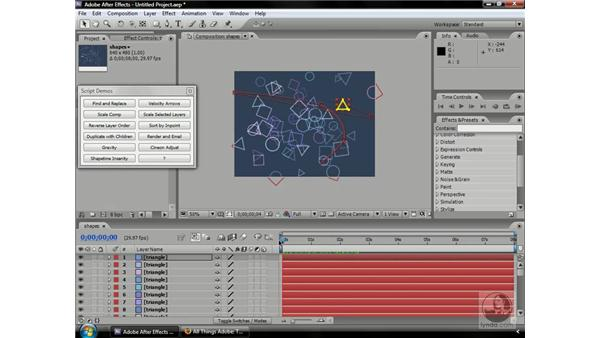 Introduction to scripting and the secret Demo palette: After Effects CS3 Professional Beyond the Basics