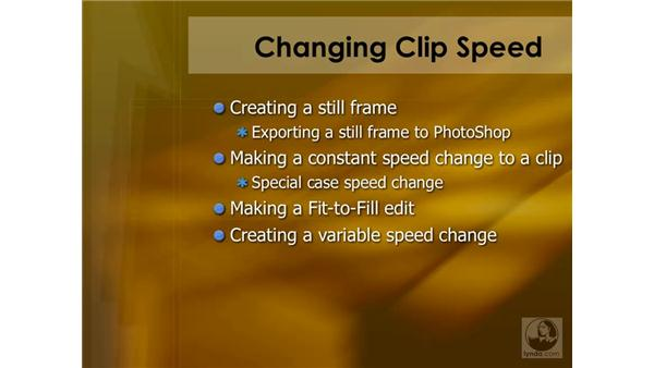 Changing a clip's speed: Final Cut Pro 6 Essential Effects