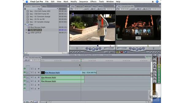 Creating a still frame: Final Cut Pro 6 Essential Effects