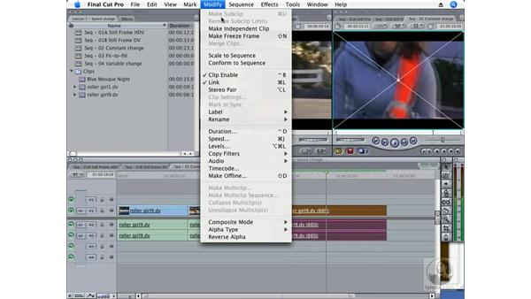 Creating a constant speed change: Final Cut Pro 6 Essential Effects