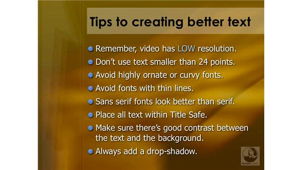 Tips for creating better text: Final Cut Pro 6 Essential Effects