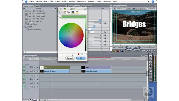 Creating full-screen text: Final Cut Pro 6 Essential Effects