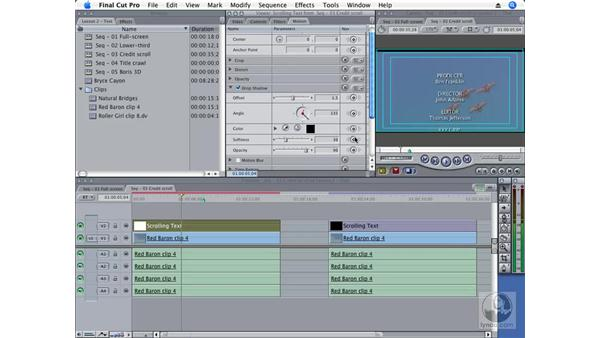 Creating a credit scroll: Final Cut Pro 6 Essential Effects