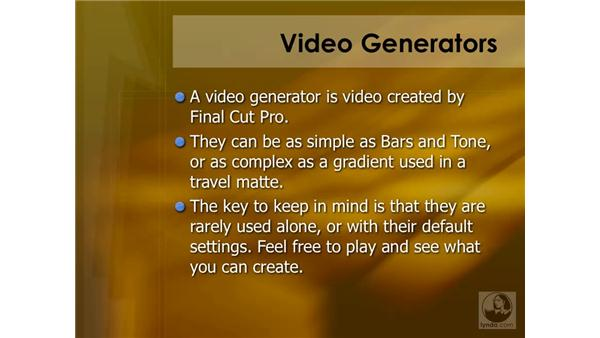 Video generator summary: Final Cut Pro 6 Essential Effects