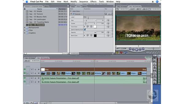 Creating burned-in timecode as a composite mode: Final Cut Pro 6 Essential Effects