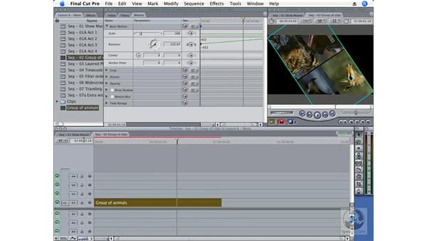 Adding an effect to a group of clips: Final Cut Pro 6 Essential Effects